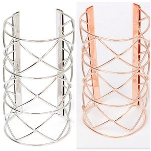 Set of Open Cut Metallic Cuff Bracelets